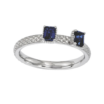 Personally Stackable Lab-Created Sapphire Textured 2-Stone Ring