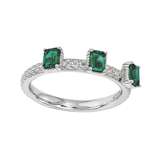 Personally Stackable Lab-Created Emerald Textured 3-Stone Ring