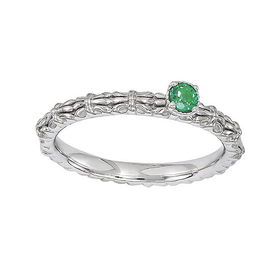 Personally Stackable Lab-Created Emerald Floral Band Ring