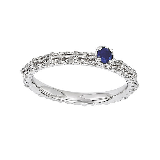 Personally Stackable Lab-Created Sapphire Floral Band Ring
