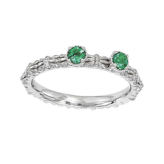 Personally Stackable Lab-Created Emerald 2-Stone Floral Band Ring