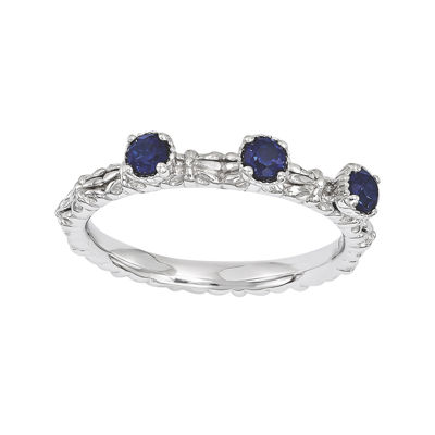 Personally Stackable Lab-Created Sapphire 3-Stone Floral Band Ring