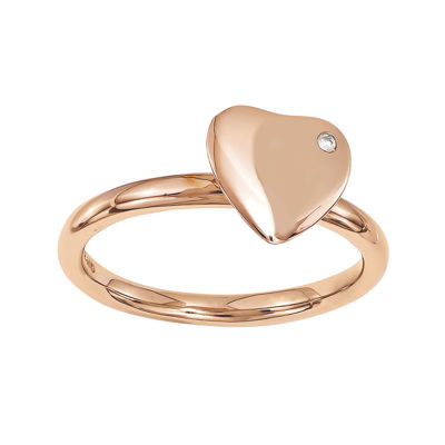 Personally Stackable Diamond-Accent 18K Rose Gold Over Sterling Silver Heart Rin