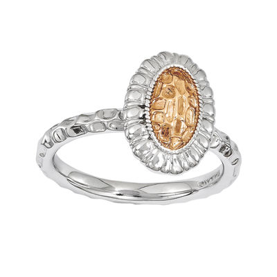 Personally Stackable Two-Tone Textured Oval Floral Ring