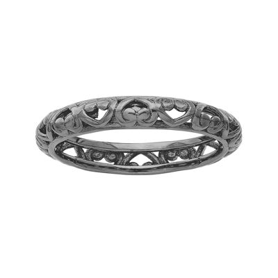 Personally Stackable Black Sterling Silver Carved Filigree Ring