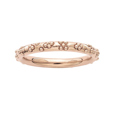 Personally Stackable 18K Rose Gold Over Sterling Silver Textured Ring