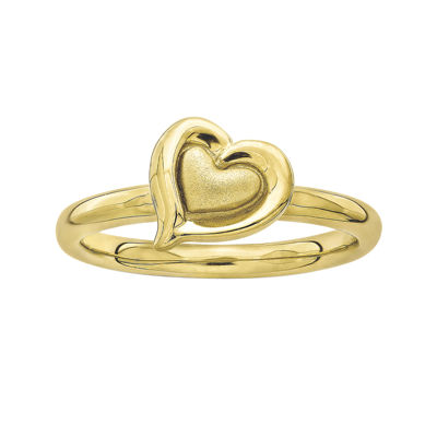 Personally Stackable 18K Yellow Gold Over Sterling Silver 2-Heart Ring
