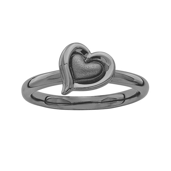 Personally Stackable Black Sterling Silver 2-Heart Ring
