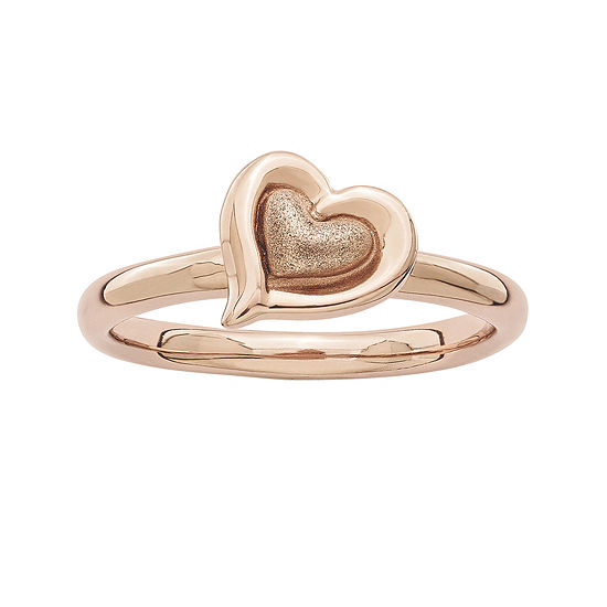 Personally Stackable 18K Rose Gold Over Sterling Silver 2-Heart Ring