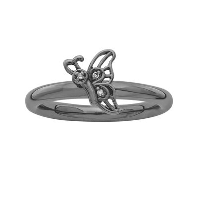 Personally Stackable Diamond-Accent Black Sterling Silver Butterfly Ring