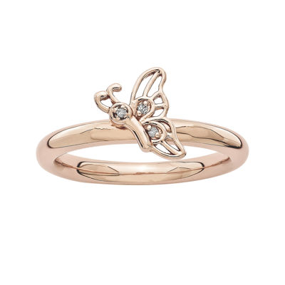 Personally Stackable DA 18K Rose Gold Over Sterling Silver Butterfly Ring