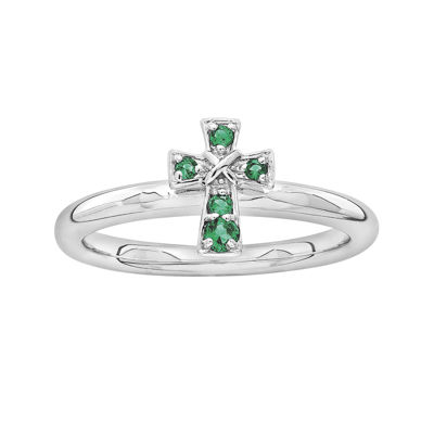 Personally Stackable Lab-Created Emerald Sterling Silver Cross Ring