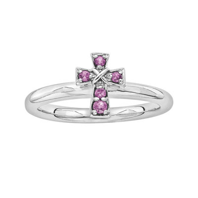 Personally Stackable Genuine Rhodolite Garnet Sterling Silver Cross Ring