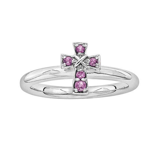 Personally Stackable Genuine Rhodolite Garnet Sterling Silver Cross Ring