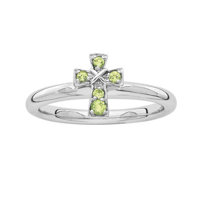 Personally Stackable Genuine Peridot Sterling Silver Cross Ring