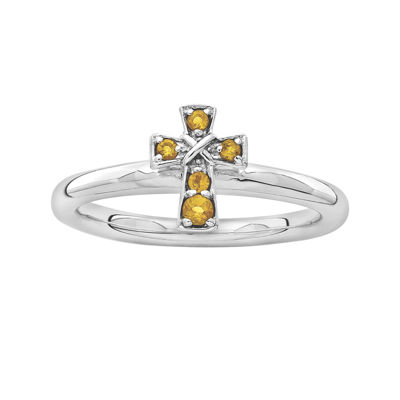Personally Stackable Genuine Citrine Sterling Silver Cross Ring