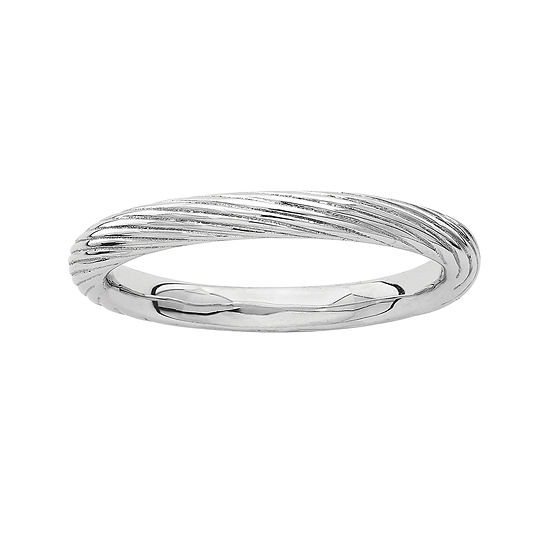 Personally Stackable Sterling Silver Ribbed Ring