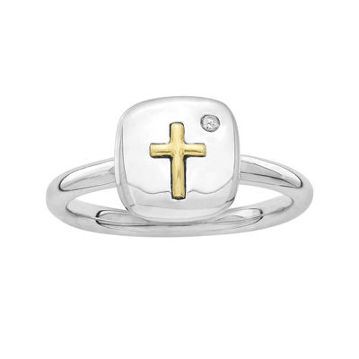 Personally Stackable Diamond-Accent Two-Tone Cross Tablet Ring