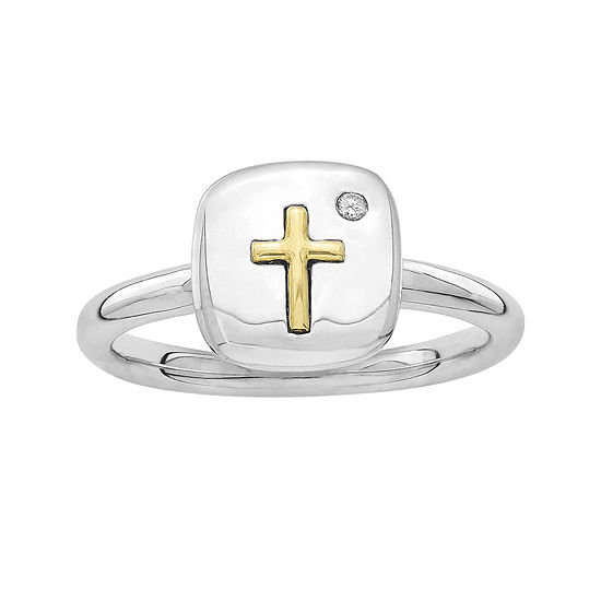 Personally Stackable Diamond Accent Two Tone Cross Tablet Ring