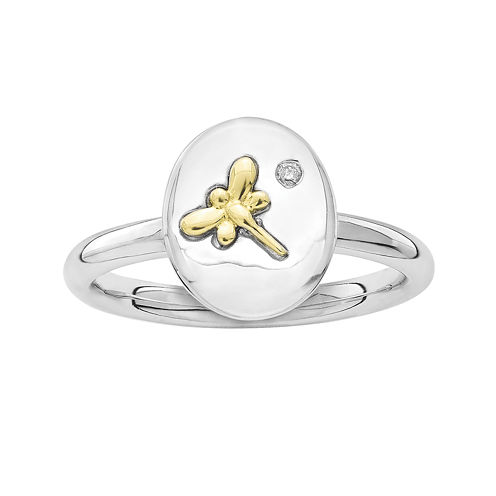 Personally Stackable Diamond-Accent Two-Tone Dragonfly Oval Ring
