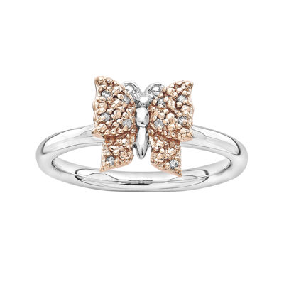 Personally Stackable Diamond-Accent Two-Tone Butterfly Ring