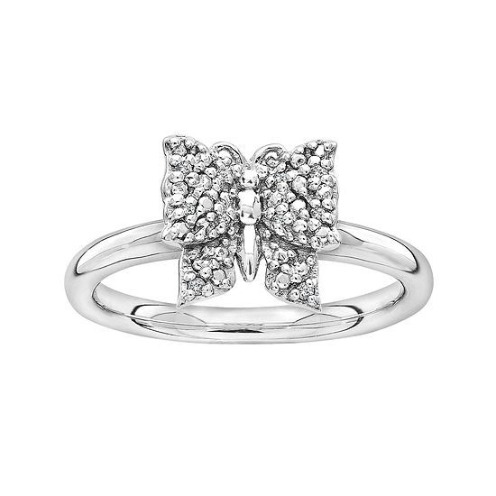 Personally Stackable Diamond-Accent Sterling Silver Butterfly Ring