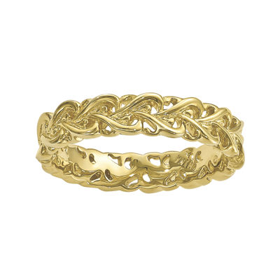 Personally Stackable 18K Yellow Gold Over Sterling Silver Interlocking Heart Rin