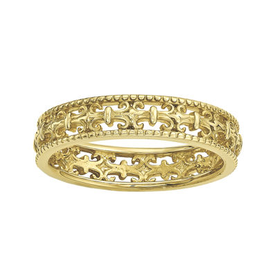 Personally Stackable 18K Yellow Gold Over Sterling Silver Fleur-de-Lis Ring