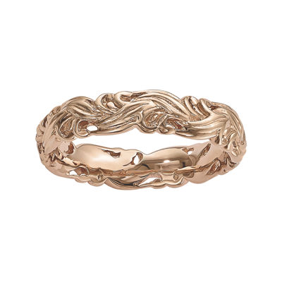 Personally Stackable 18K Rose Gold Over Sterling Silver Carved Wave Ring