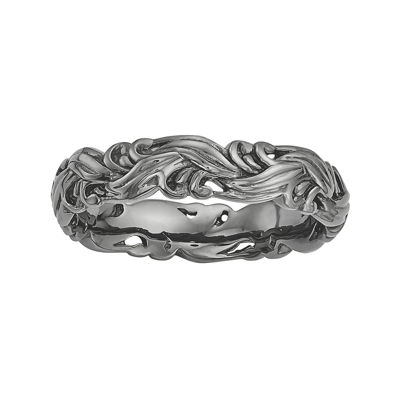 Personally Stackable Black Sterling Silver Carved Wave Ring