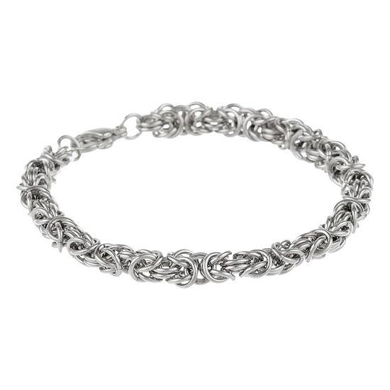 "Mens Stainless Steel 9"" 7mm Byzantine Bracelet"