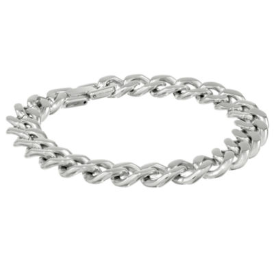 "Mens Stainless Steel 9"" 12mm Chunky Curb Bracelet"
