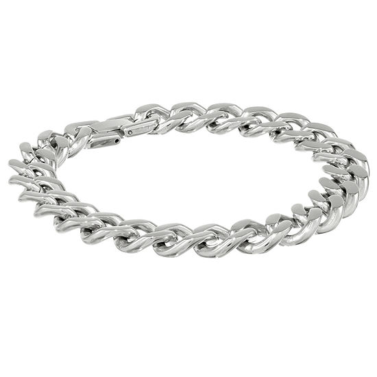 """Mens Stainless Steel 9"""" 12mm Chunky Curb Bracelet"""