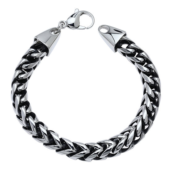 Mens Stainless Steel Black Ip 8 1 2 8mm Foxtail Bracelet