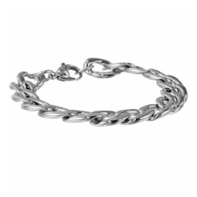 "Mens Stainless Steel 9"" 13mm Chunky Curb Bracelet"