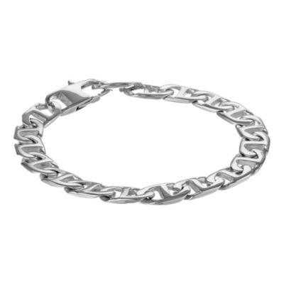 "Mens Brushed Stainless Steel 9"" 22mm Marine Link Bracelet"
