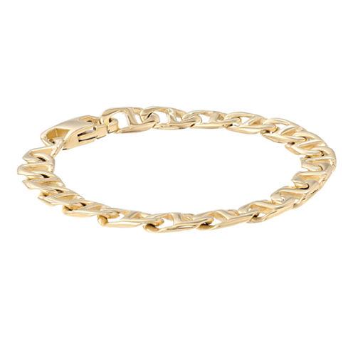 "Mens Stainless Steel & Gold-Tone IP 9"" 10mm Marine Link Bracelet"