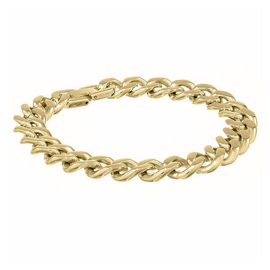 "Mens Stainless Steel & Gold-Tone IP 9"" 12mm Chunky Curb Bracelet"