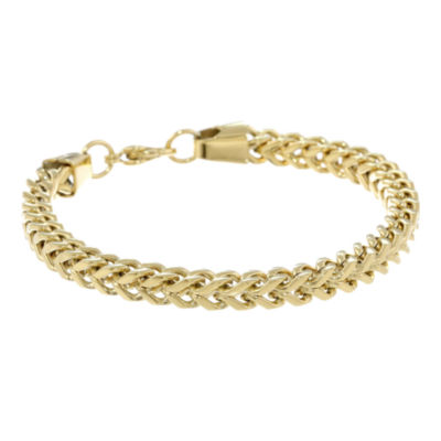 "Mens Stainless Steel & Gold-Tone IP 9"" 6mm Foxtail Bracelet"