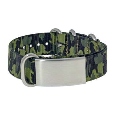 Mens Stainless Steel & Green Camo ID Bracelet