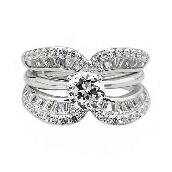DiamonArt® Cubic Zirconia Sterling Silver Crescent Ring Guard