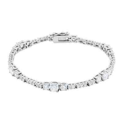 DiamonArt® Cubic Zirconia Sterling Silver Graduated Bracelet