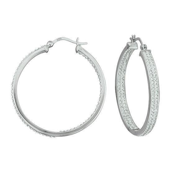 Sterling Silver Crystal In/Out Hoop Earrings