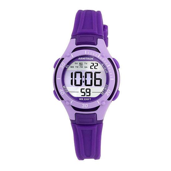 Armitron Pro Sport Womens Chronograph Digital Purple Strap Watch-45/7062pur