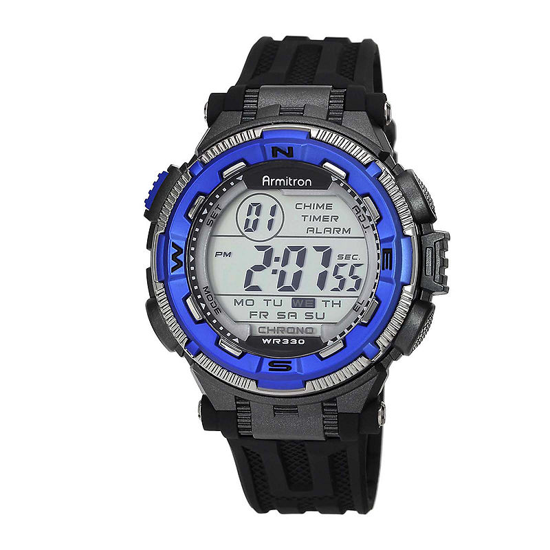 Armitron Pro-Sport Mens Black Resin Strap Chronograph Sport Watch 40/8301BLUJ