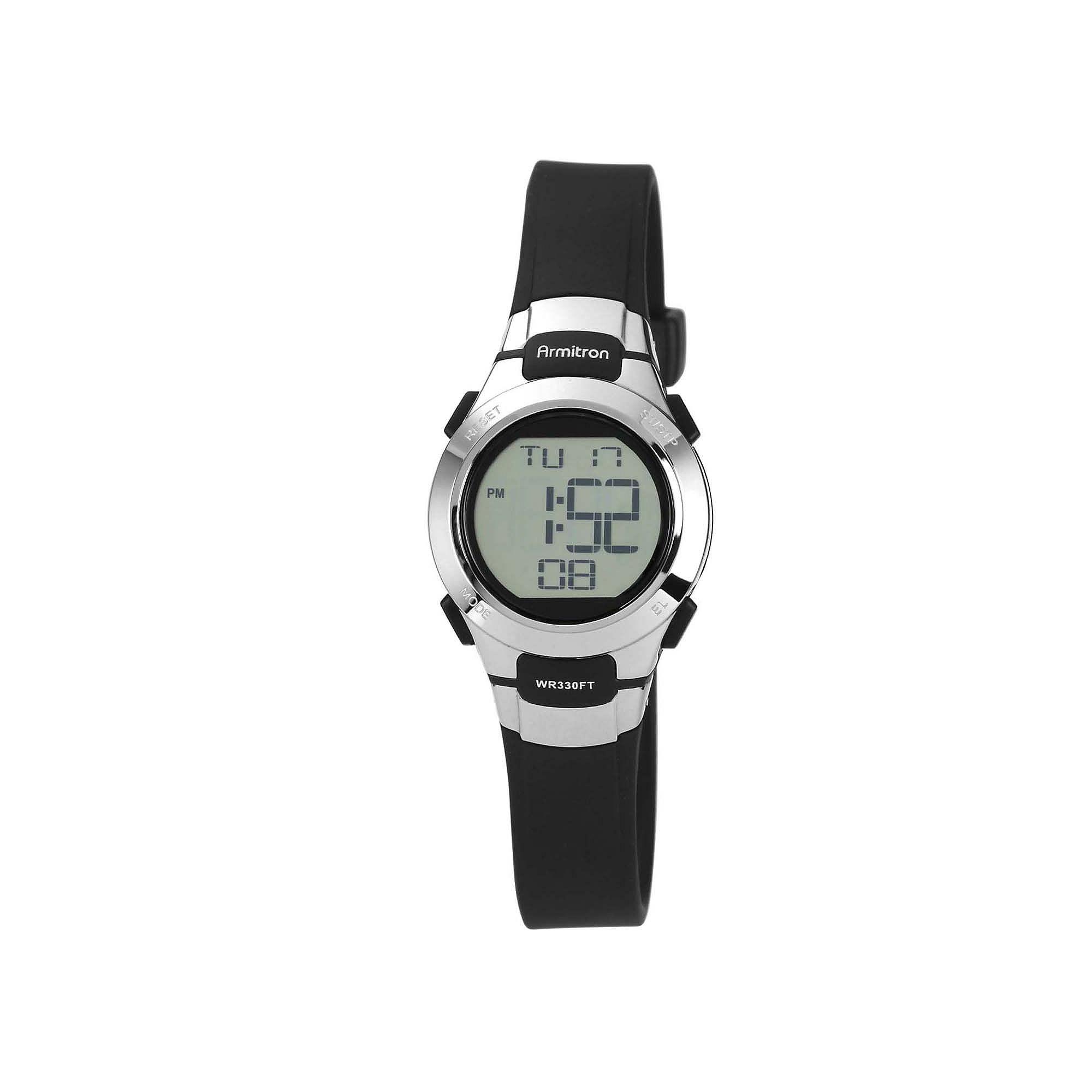 Armitron Pro-Sport Womens Black Resin Strap Chronograph Sport Watch 45/7012BLKJ