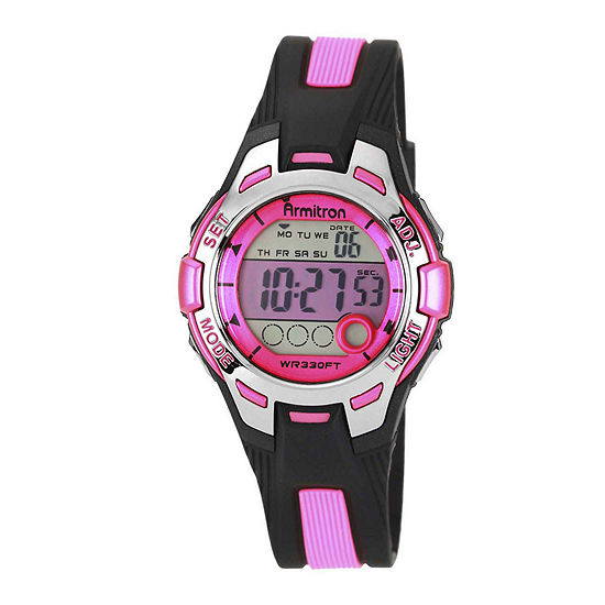 Armitron Pro Sport Womens Chronograph Multi-Function Digital Pink Strap Watch-45/7030pnkj