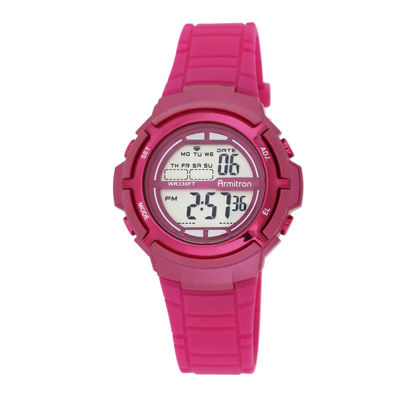 Armitron® Pro-Sport Womens Pink Resin Strap Chronograph Sport Watch 45/7045MAGJ