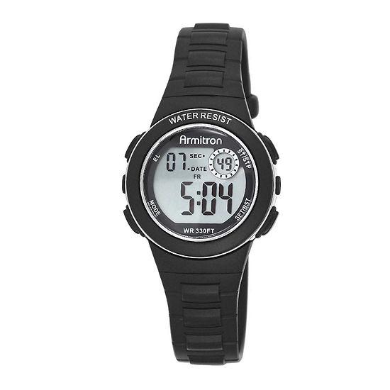 Armitron Pro Sport Womens Digital Black Strap Watch-45/7046blkj