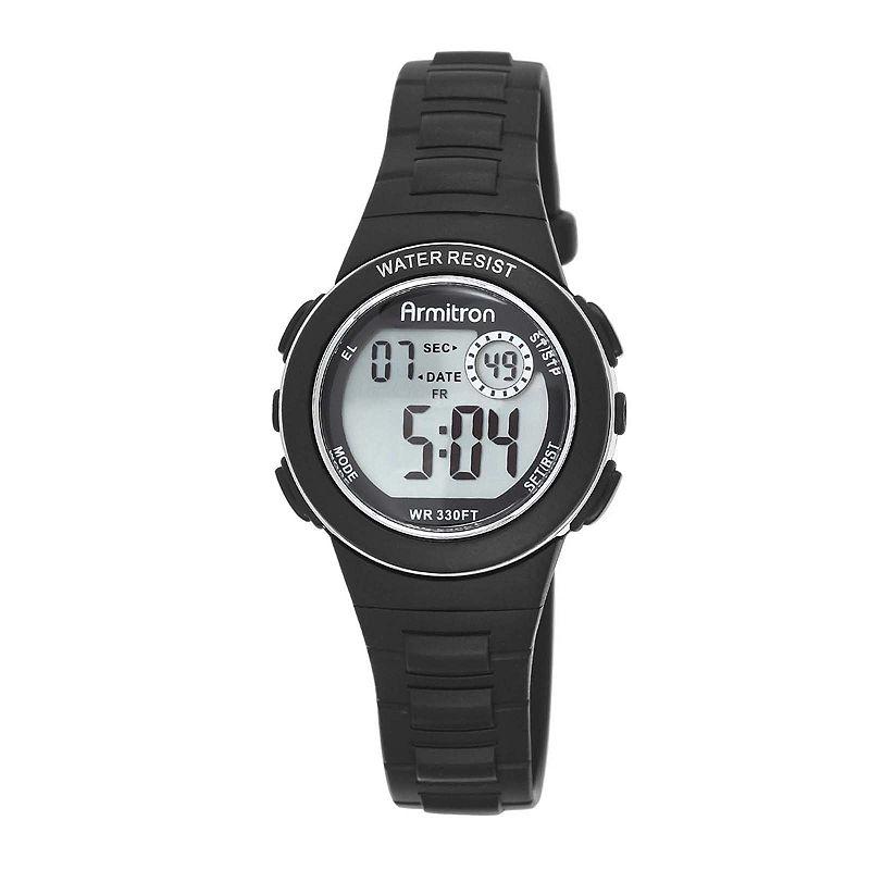 Armitron Pro-Sport Womens Black Resin Strap Chronograph Sport Watch 45/7046BLKJ